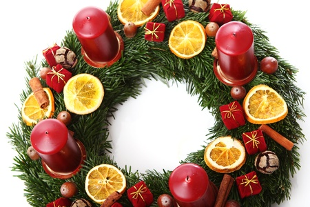 Close up of Christmas wreath photo