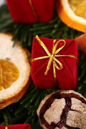 Close up of Christmas wreath photo