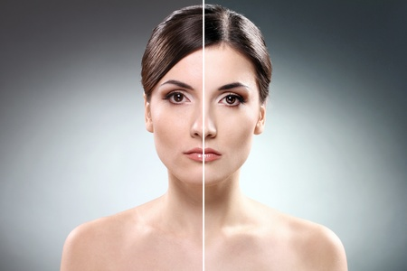 half nude: Face of beautiful woman before and after retouch