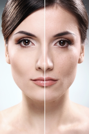 Face of beautiful woman before and after retouch Stock Photo - 12010077
