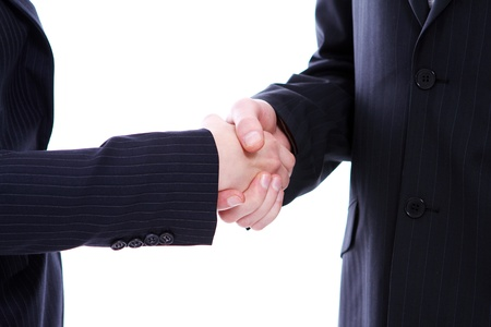 Handshake of two business partners isolated on white photo