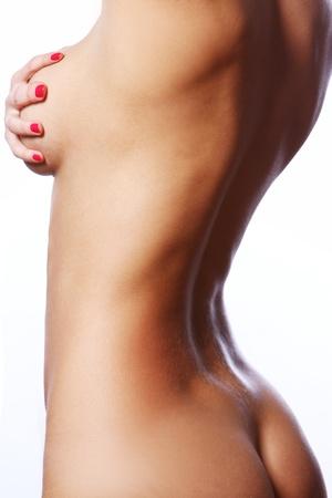 fille nue sexy: Beau corps féminin sur fond blanc