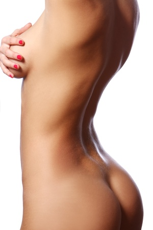 corps femme nue: Belle corps de la femme sur fond blanc Banque d'images