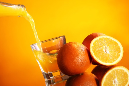 Fresh and cold orange drink photo