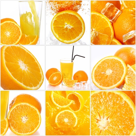 Collage of different photos with orange fruits photo