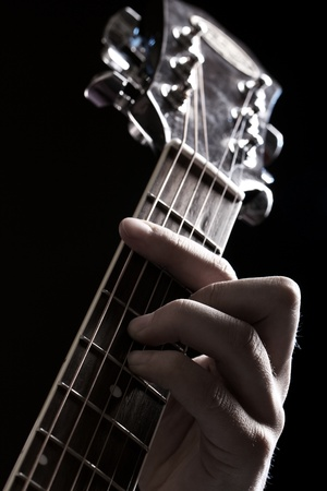 blues: Musician playing on acoustic guitar Stock Photo
