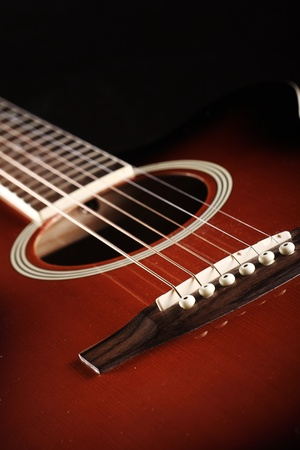 Close up of classic acoustic guitar photo
