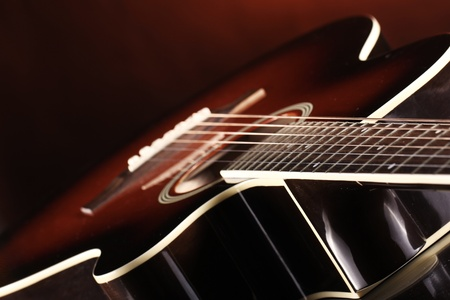 Close up of classic acoustic guitar Stock Photo