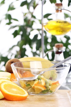 Different fresh fruits on the kitchen table Stock Photo - 12629489