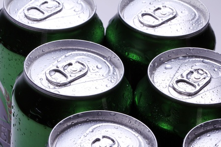 Close up of cans with cold drink photo