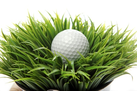 Close up of Golf ball in grass photo