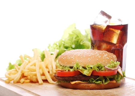 cheeseburger with fries: Delicious fast food on the table