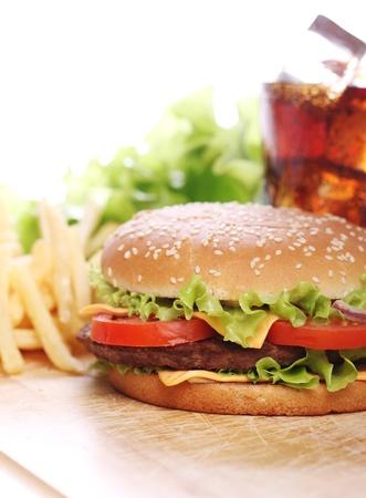 buns: Deliciosa comida rápida en la mesa Foto de archivo