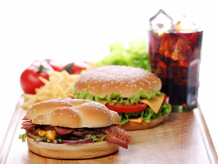 Delicious fast food on the table Stock Photo - 12769287