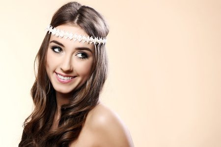 Beautiful young woman with long hair photo