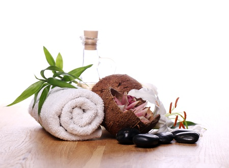 spa stuff: Spa and wellness stuff over white background