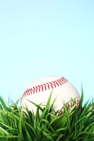 Close up of baseball in grass photo