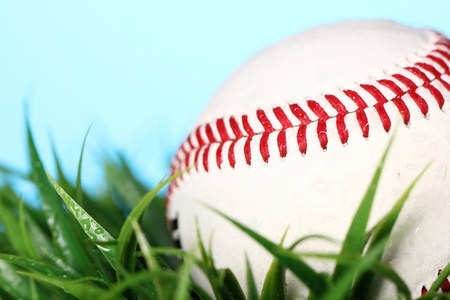 Close up of baseball in grass Stock Photo - 12992608