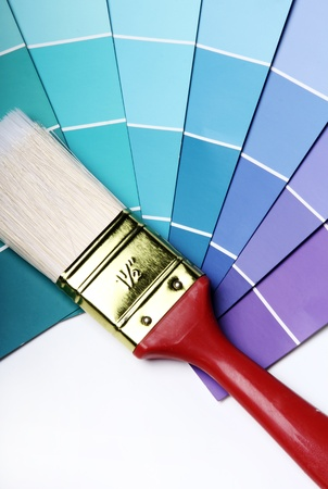 Close up of pantone color palette and brush photo