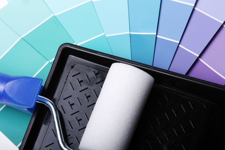 Close up of pantone color palette and roller Stock Photo - 12992550
