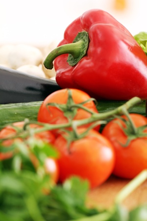Pile of fresh vegetables  on wooden surface Stock Photo - 13137205