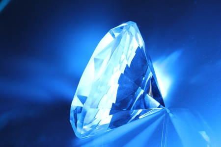 refraction of light: Big and beautiful jewel in blue light