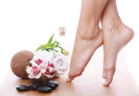 Beautiful woman legs and different spa items Stock Photo - 13800234