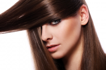 Young woman with beautiful hair over white bakcground Stock Photo - 13800814