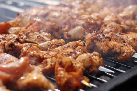 bbq chicken: Fresh meat prepared on the charcoal