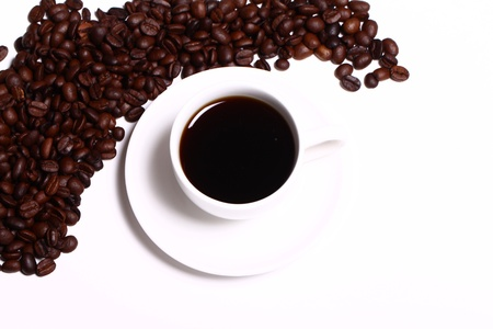 Cup of black hot coffe over white background photo