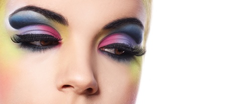 Beautiful woman with colorful make-up over white background Stock Photo - 14176137