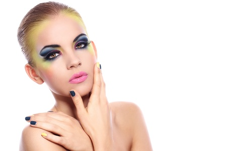 Beautiful woman with colorful make-up over white background Stock Photo - 14175907