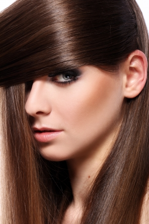 Young woman with beautiful  long hair photo
