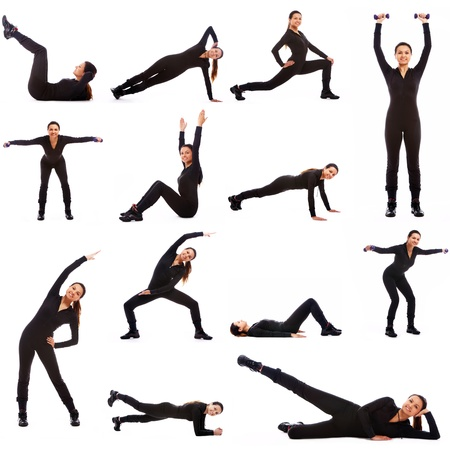 Collage of different fitness exercises on white background photo