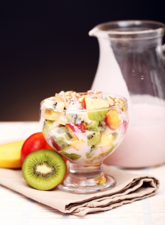 Healthy fruit salad with yoghurt photo