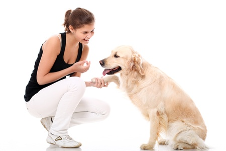 dogs play: Happy woman and her beautiful dog over white background Stock Photo
