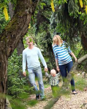 Young and happy get stroll in the park photo