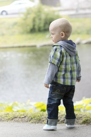 Little cute boy in the park  photo