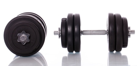Big black dumbells over white background Stock Photo - 14361863