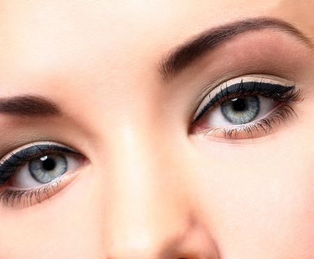 Close up of beautiful eyes with makeup Stock Photo