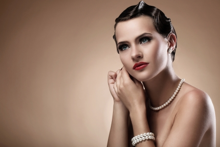 Portrait of beautiful woman in vintage image photo