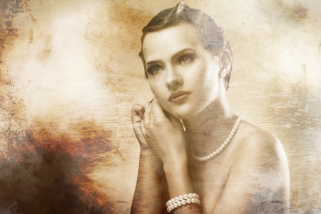 Portrait of young and beautiful woman with old photo effect photo
