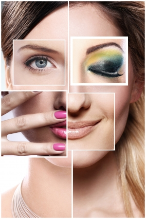 different: Creative beauty collage from different parts of face