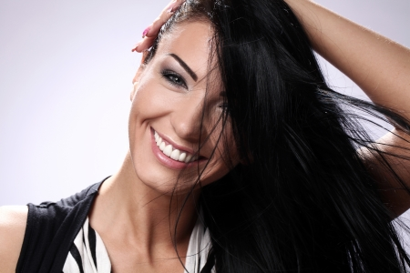 Portrait of happy brunette with beautiful smile Stock Photo - 14780759