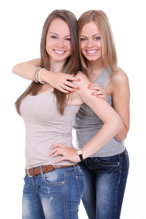 Two beautiful sisters over white background Stock Photo - 14780743