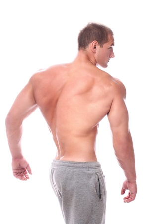 Man showing his muscular back over white background Stock Photo - 14780701