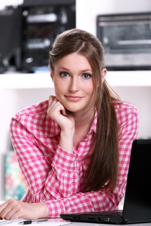 Cute teenager girl styding at the home Stock Photo - 15184285