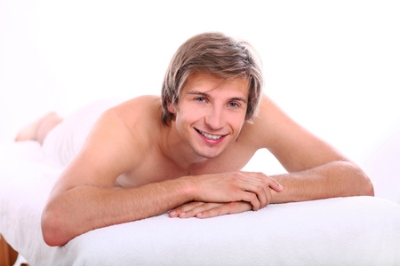 Young and handsome guy relaxing at massage session Stock Photo - 15184160