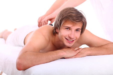 Young and handsome guy relaxing at massage session Stock Photo - 15184178