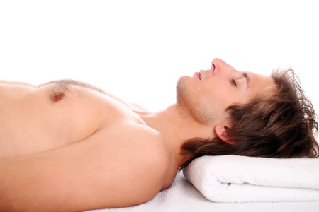 Young and handsome guy relaxing at massage session Stock Photo - 15184132